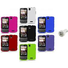 Color Hard Snap-On Rubberized Case Cover+Dual Charger for Motorola Xprt MB612