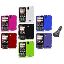 Color Hard Snap-On Rubberized Case Cover+Car Charger for Motorola Xprt MB612
