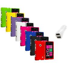 For Nokia Lumia 521 Snap-On Hard Rubberized Matte Case Cover Car Charger