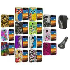 Design Hard Rubberized Case Cover+2X Chargers for Samsung Sprint Galaxy S2 S II