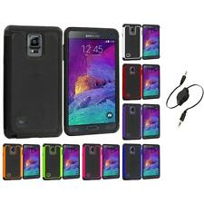 For Samsung Galaxy Note 4 Hybrid Impact Hard Case Cover Aux Cable