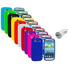 Silicone Rubber Color Case Cover+USB Charger for Samsung Galaxy S III S3 i9300