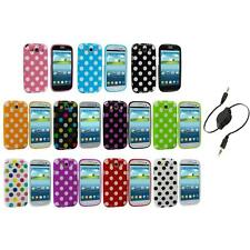 TPU Polka Dot Case Cover Accessory+Aux Cable for Samsung Galaxy S3 S III i9300
