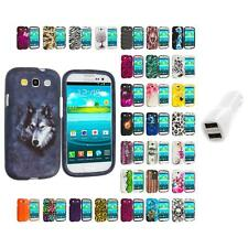 For Samsung Galaxy S3 Hard Design Snap-On Skin Case Cover Car Charger
