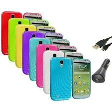 Swirl TPU Rubber Jelly Case Cover+Charger+USB for Samsung Galaxy S4 SIV i9500