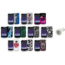Design Hard Snap-On Rubberized Case Cover+Dual Charger for ZTE Avid 4G N9120