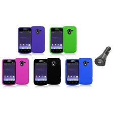Color Silicone Rubber Gel Soft Skin Case Cover+Car Charger for ZTE Avid 4G N9120