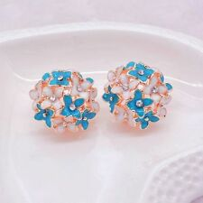 Pop Women Lady Elegant Clover Flower Design Crystal Rhinestone Stud Earrings