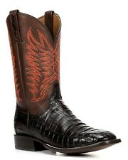 Lucchese M2665 Mens Black Cherry Caiman Crocodile Leather Western Cowboy Boots