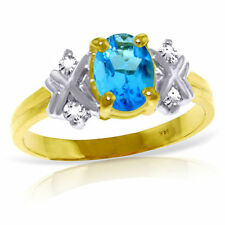 Genuine Blue Topaz Oval Gemstone & Diamonds Ring in 14K Yellow, White, Rose Gold