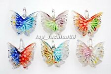 Wholesale Jewelry Lots Butterfly  Lampwork Glass Pendant Fit Neckalce Womens New