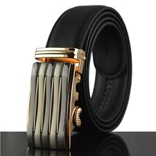 Genuine Leather Mens Automatic Buckle Belts Black Brown Waist Strap Waistband