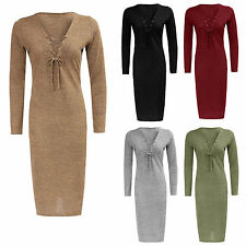 Women Ladies Tie Lace Up V Neck  Long Sleeve Knitted Stretch Sexy Midi Dress8-14