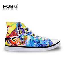 Cool Dog Pug Womens Girls Lace-up High Top Shoes Sneakers Casual Canvas Shoes