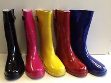New Womens Rain Boots Rubber Solid Colors Mid Height Wellies Mid Calf Snow Sizes