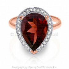 Genuine Garnet Pear Cut Gemstone & Diamonds Ring 14K. Yellow, White or Rose Gold