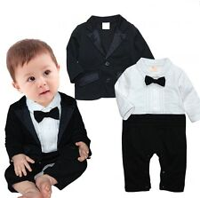 Baby Boy Wedding Formal Party Tuxedo Suit Cloth Outfit+Jacket Set 0-24M NEWBORN