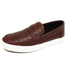 MENS BURGUNDY CROC CASUAL FLAT SLIP-ON PLIMSOLL MOCCASIN PUMPS SHOES SIZES 7-11