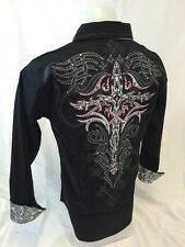 Mens Victorious Cross Button Up Shirt Stones Black Red Stitch Roar W Style 48