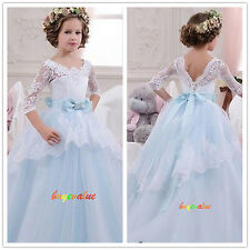 2016 Formal Lace Baby Princess Bridesmaid Flower Girl Dress Party Spring Dress-G