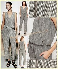 $298 Eileen Fisher Surplice Stone Chain Print Silk Fisher Project Jumpsuit XL