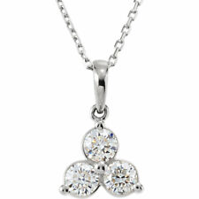 "Genuine Diamonds Three Stone Design Pendant 18"" Necklace in Solid 14K White Gold"