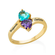 Personalized Birthstone Ring in 18k gold Plated Sterling Silver,Gift for Mom