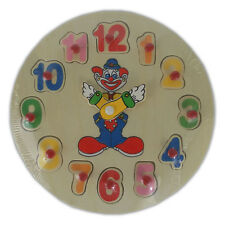 Clown Learning Clock - Educational Wooden Toy Puzzle Sorting Telling the Time