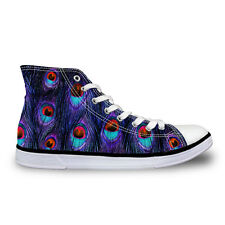 Women Girl Lady Peacock High Top Shoe Adult Athletic Shoe Casual Canvas Sneaker