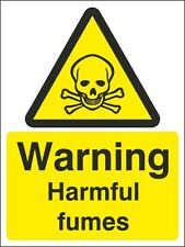 Warning Harmful Fumes Sign 150x200mm, Rigid Plastic, Self Adhesive Vinyl