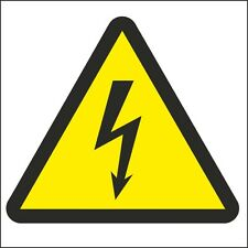 Voltage Electricity Symbol Sign 100x100mm Rigid Plastic,Self Adhesive Pack Of 3