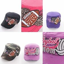 Cap Football Volleyball Mom Cadet Sports Rhinestone Angel Wings Embroidered Cute