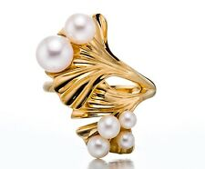 Freshwater Cultured Pearl 18k Yellow Gold Plated Silver Ring for women Sz 6 7 8