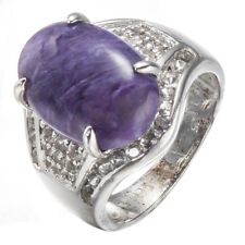 Natural 8.33ct Charoite, White Topaz Solid 925 Sterling Silver Ring Fine Jewelry