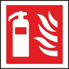Fire Extinguisher Symbol Sign 100x100mm,Rigid Plastic, Self Adhesive Pack Of 3