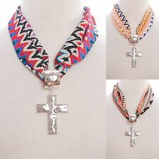 Necklace Cross Scarf Style Chevron Tribal Aztec Triangles Diamonds Shapes Chic