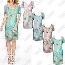 WOMENS LADIES MINI DRESS CHIFFON LACE FLORAL SUMMER FANCY SHORT SLEEVE TUNIC TOP