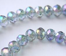 light blue AB crystals 6mm x 8mm opaque faceted rondelle sold by 16 inch strand