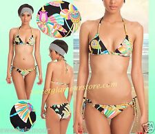 $148 Trina Turk Tahitian Ring Triangle Top & Tie Bottom Swimsuit Bikini Set