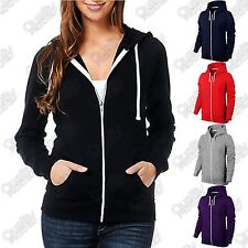 WOMENS LADIES PLAIN HOODIE HOODED ZIP ZIPPER SWEAT SHIRT JACKET COAT SWEATER TOP