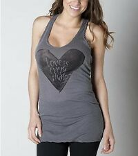 In God's Hands Sleeveless Tank Top Gray w/ heart design & rhinestone detail NWT