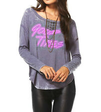 CHASER LA Gray Burnout Good Times T Shirt Top Long Sleeve XS S M NWT USA Made