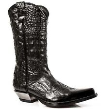 Newrock Mens 7921-S1 New Rock Leather West Black Cowboy Leather Boots All sizes
