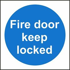 Fire Door Keep Locked Sign, 100x100mm, Rigid Plastic OR Self Adhesive, Pack Of 3