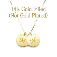 Personalized 14K Gold Filled 11 mm  Initial Monogram Disc Necklace