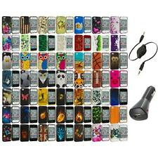 Design Hard Rubberized Color Snap-On Case Cover+Aux+Charger for iPhone 4 4S 4G