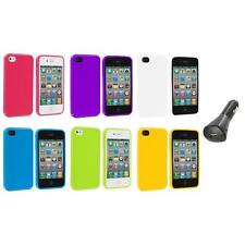 TPU Jelly Gloss Solid Skin Case Cover Accessory+Car Charger for iPhone 4 4G 4S