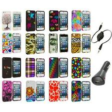 Colorful Design Hard Snap-On Rubberized Case Cover+Aux+Charger for iPhone 5 5S