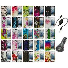 Flower Design Hard Rubberized Case Cover+Aux+Charger for iPod Touch 5th Gen 5G