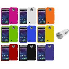 For ZTE Sprint Vital N9810 Hard Snap-On Rubberized Case Cover+USB Charger